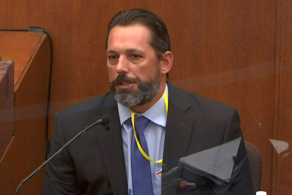 Use-of-force instructor Lt. Johnny Mercil answering questions during the seventh day of the trial of former Minneapolis police officer Derek Chauvin.