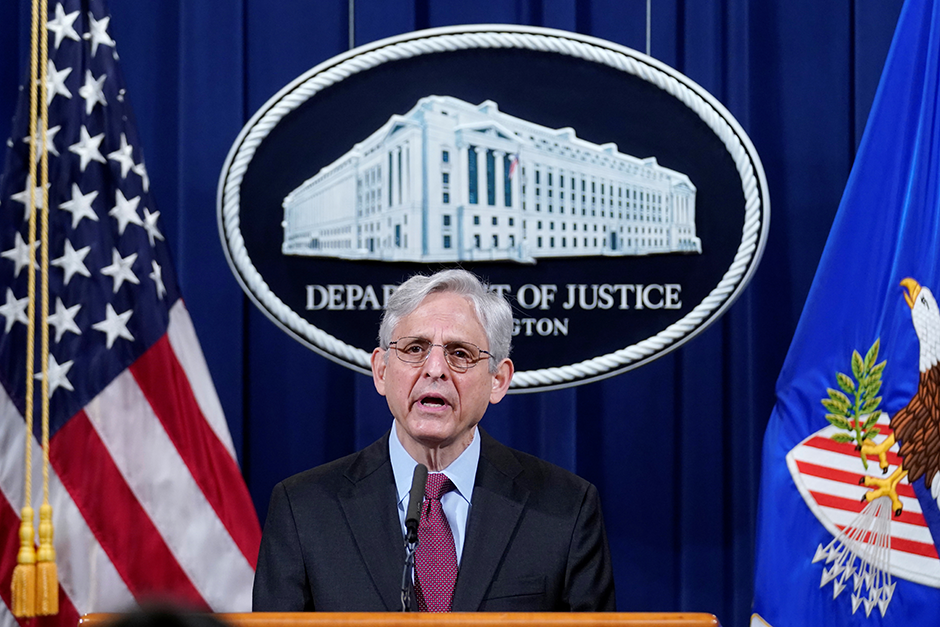 Attorney General Merrick Garland speaking about the jury's verdict in the case against former Minneapolis Police Officer Derek Chauvin, at the Department of Justice on Wednesday.