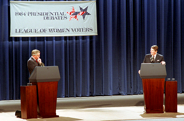 President Ronald Reagan, right, and Democratic presidential candidate Walter Mondale are pictured during the first 1984 U.S. presidential election debate in Louisville, Kentucky, on October 7, 1984.