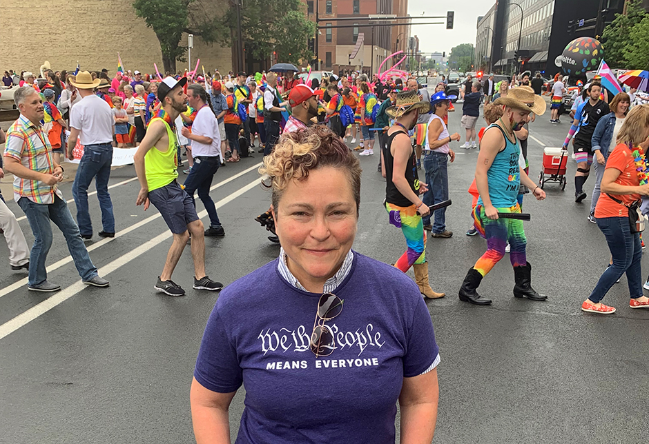 OutFront executive director Monica Meyer at the 2019 Twin Cities Pride parade.