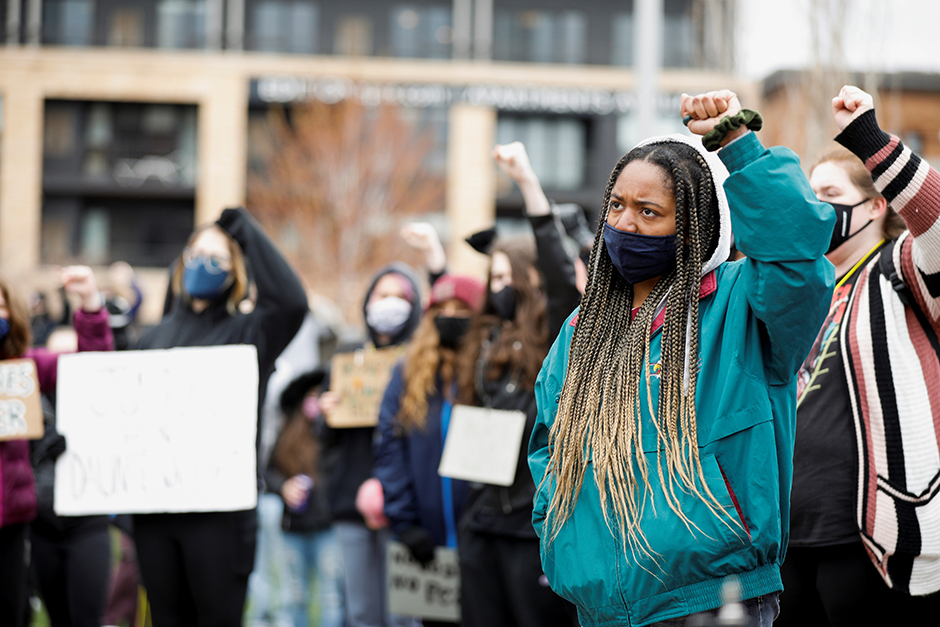 Minneapolis high school students walked out of class on April 19 and congregated outside U.S. Bank Stadium during the closing statements in the trial of former police officer Derek Chauvin.