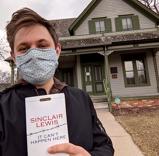 From the Book Awards' Call for Selfies: Peter at the Sinclair Lewis House.