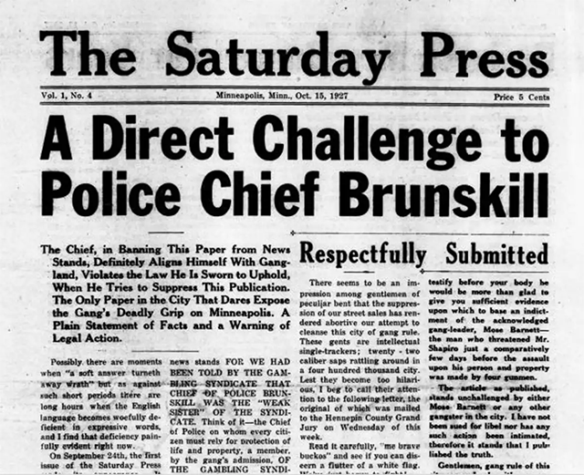 A portion of the front page of The Saturday Press, Oct. 15, 1927, published by Jay Near that figures prominently in U.S. press freedom law.