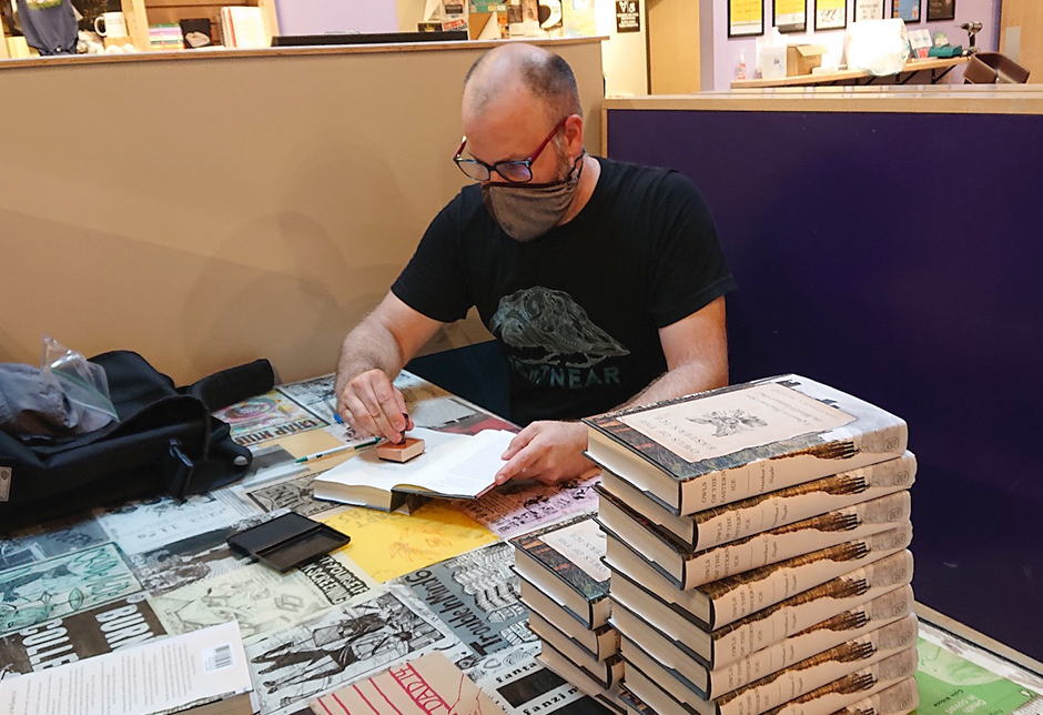Jonathan Slaght signing books at Moon Palace Books in Minneapolis.