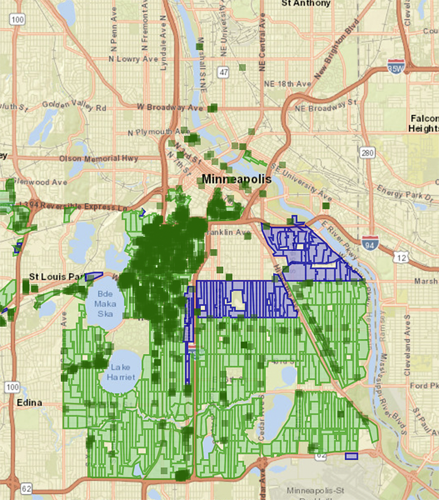 USI fiber service map for Minneapolis, so far limited to south Minneapolis.