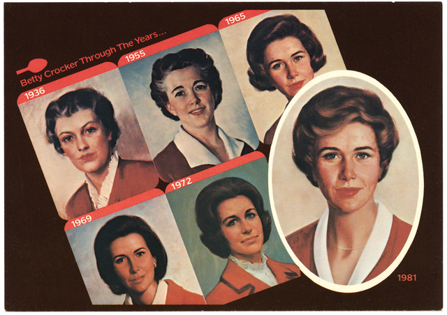 photo showing various versions of the betty crocker mascot