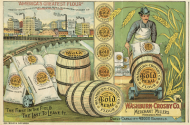 image of advertisement for gold medal flour showing barrels and sacks of flour