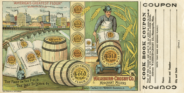advertisement for gold medal flour showing barrels and sacks of flour