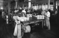 historic photo of inside of stillwater twine factory
