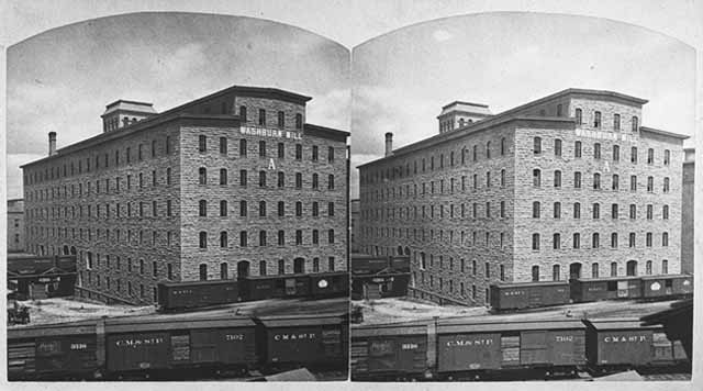 dual photo of washburn a mill in 1880