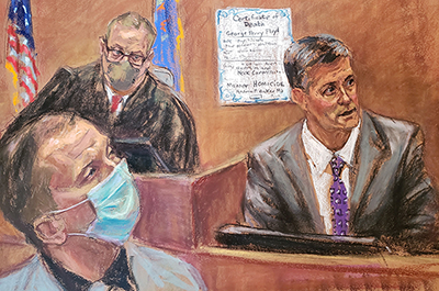 A courtroom sketch of Hennepin County medical examiner Dr. Andrew Baker