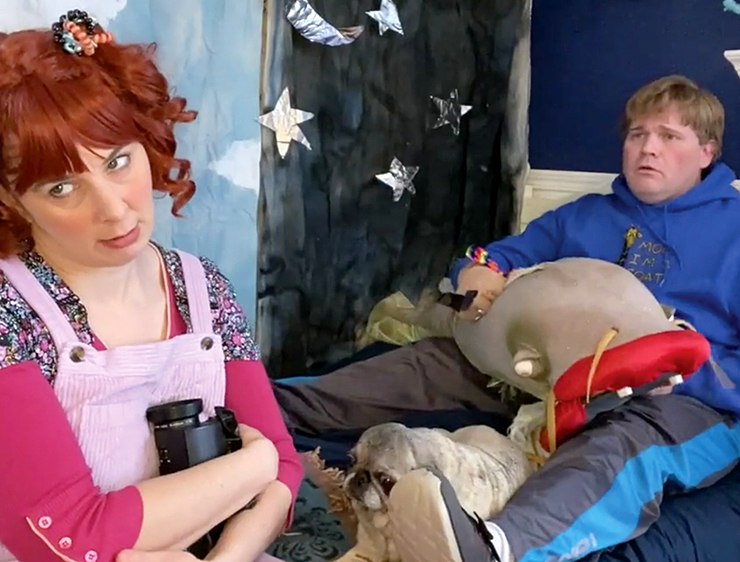 """Autumn Ness as Audrey and Reed Sigmund as her cousin Kyle in """"Audrey Saves the Universe."""""""