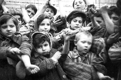 Some of the 600 children who had survived the Auschwitz II-Birkenau