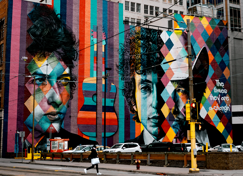 The five-story mural of Bob Dylan by Brazilian muralist Eduardo Kobra located at 15 South 5th St. in downtown Minneapolis.