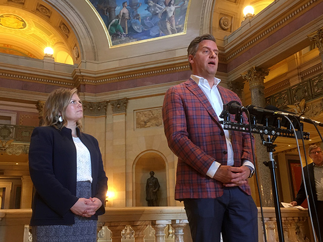 House Minority Leader Kurt Daudt who was not part of the negotiations, said the GOP got little of what it wanted in the deal. Deputy Minority Leader Anne Neu Brindley is at left.