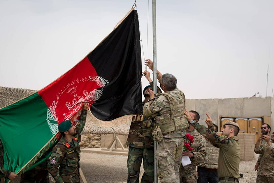 Handover ceremony at Camp Anthonic, from the U.S. Army, to Afghan Defense Forces in Helmand province on May 2, 2021.
