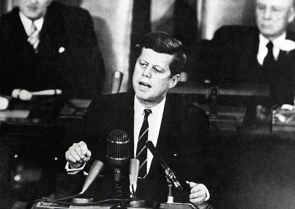 President John F. Kennedy addressed a joint session of Congress on May 25, 1961, stating that the U.S. would send a man to the Moon and return him safely to Earth before the decade was out.