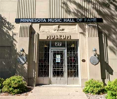 Front entrance to the Minnesota Music Hall of Fame in New Ulm, at 27 North Broadway Street.