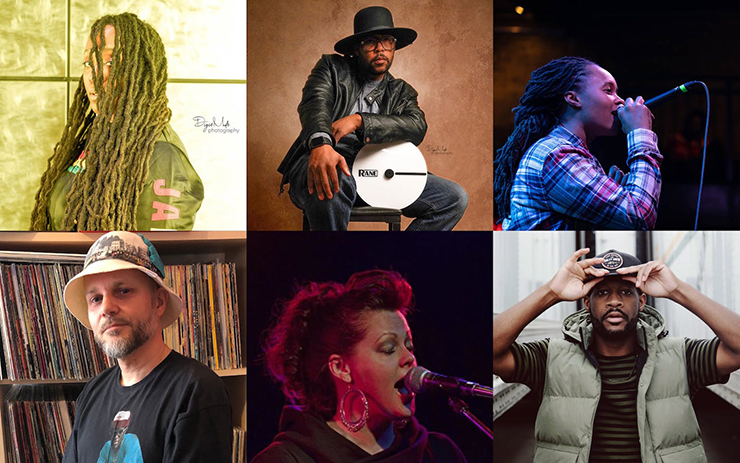Clockwise from top left: Maia Maiden, photo: DigieMade Photography; Roosevelt Mansfield (DJ Digie), photo: DigieMade Photography; Tish Jones, photo: DigieMade Photography; Herb Johnson III, photo: Juiceedope; Desdamona, photo: Brian Grenz; Neil Taylor, photo courtesy the artist.