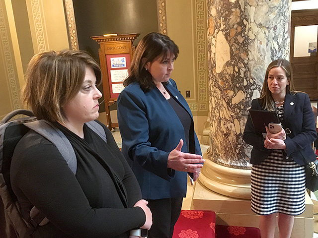 """Shortly after tossing their masks in the air """"Mary Tyler Moore style,"""" DFL state Sens. Karla Bigham, Susan Kent and Melisa Franzen talked about the pending end of the state's indoor mask mandate."""