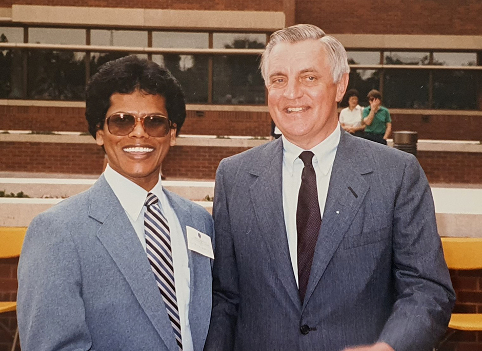 Patrick Mendis shown with former Vice President Walter Mondale at the Humphrey School in 1984.