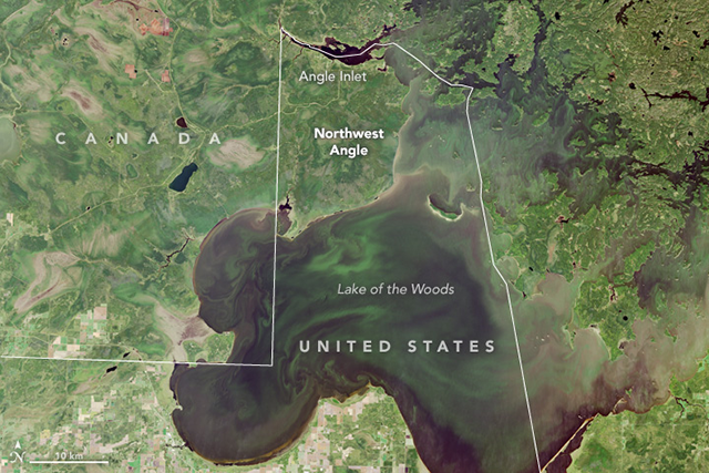 A view of the Northwest Angle from the Landsat 8, an American Earth observation satellite.