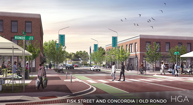 A rendering of the land bridge at the intersection of Fisk Street and Concordia in St. Paul