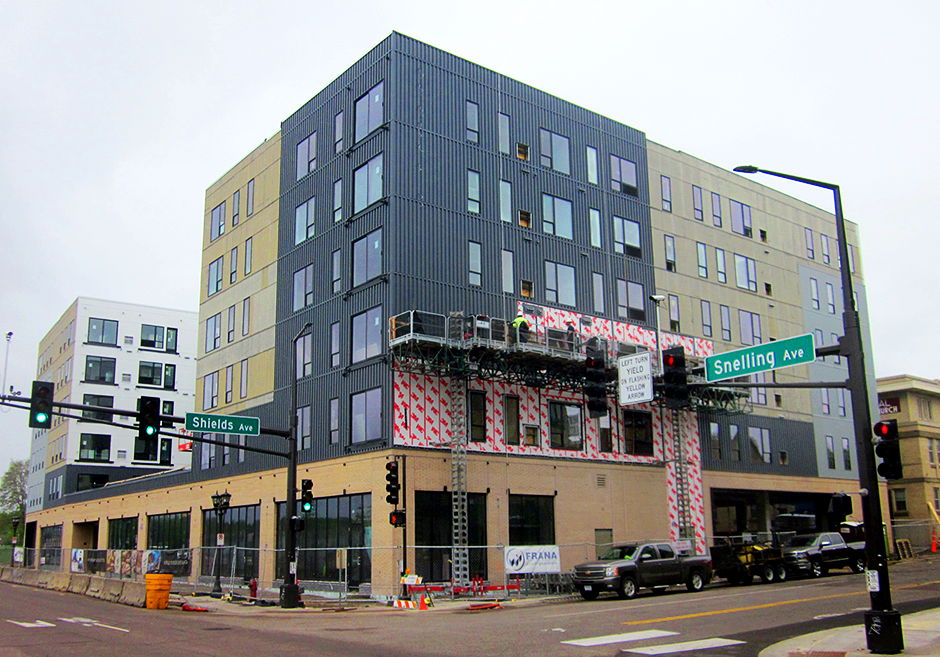 A housing development under construction at the corner of Snelling Ave. and Shields Ave. in St. Paul, across from Allianz Field.