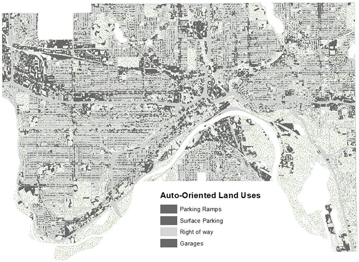 Eight percent of city land is devoted for surface parking, and over 25% for roads.