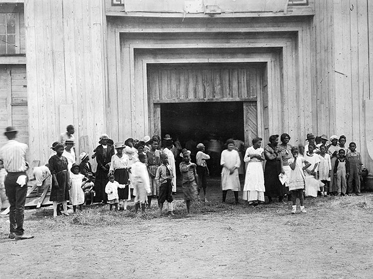 An entrance to a refugee camp on the fairgrounds in Tulsa.