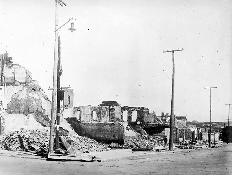 A view of the Williams Building, west side of 100 block, in the Greenwood neighborhood following the race massacre in Tulsa, Oklahoma.