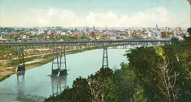 colorized postcard of the original st. paul high bridge