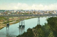 colorized postcard of the original st. paul high bridge