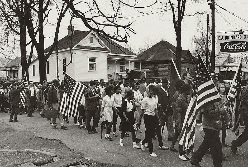 Participants marching in the civil rights march from Selma to Montgomery, Alabama, in 1965.