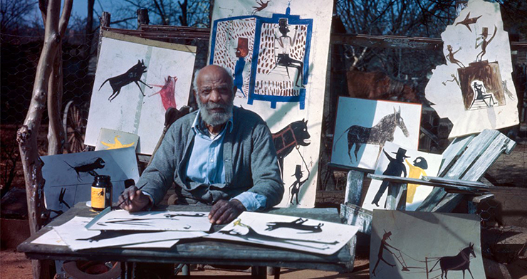 """A still from """"Bill Traylor: Chasing Ghosts."""""""