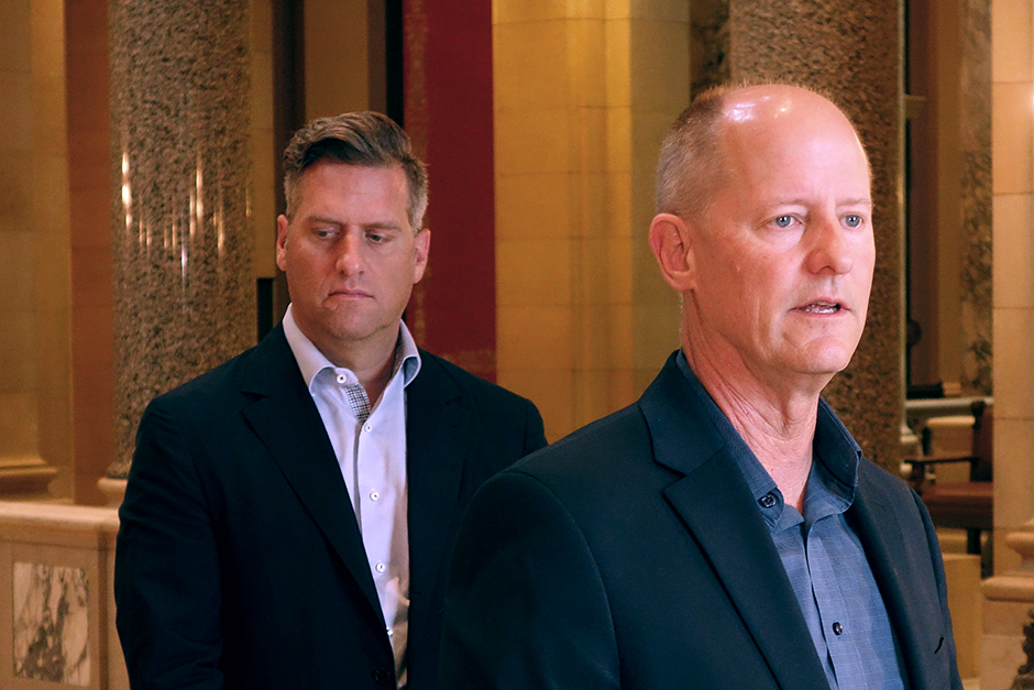 Senate Majority Leader Paul Gazelka, right, said there is nothing on the GOP agenda that is worth shutting down state government over.