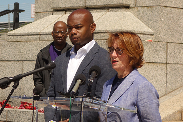 State Rep. Cedrick Frazier and state Sen. Erin Murphy shown at a May 27 press conference.