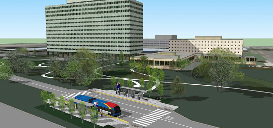 A rendering of the planned Gold Line showing a bus-rapid transit vehicle and station.