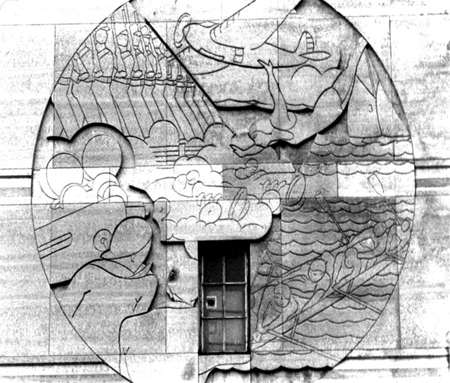 One of the Gustave Kollman sculptures that adorn the outside of the Uptown Theater.