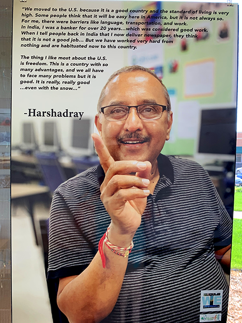 A city art project includes photographs and biographies of several Monticello residents, including Harshadray, an immigrant from India
