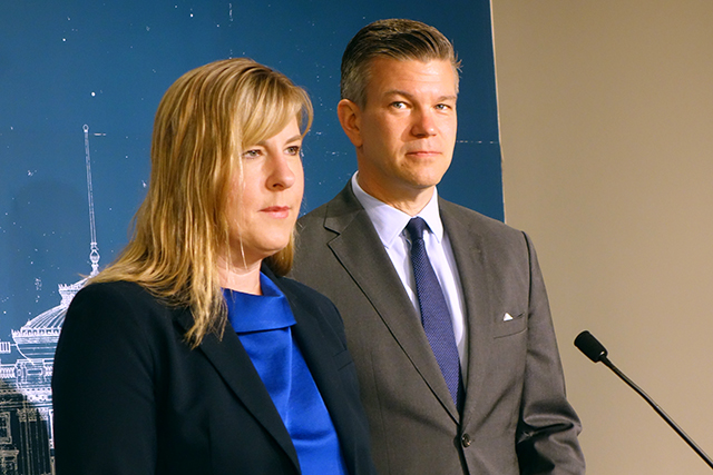 House Speaker Melissa Hortman and House Majority Leader Ryan Winkler speaking at a press conference on Monday.
