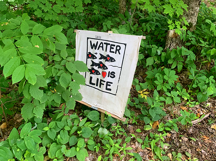 The banks of the Mississippi River and the Great River Road in Aitkin County outside of Palisades are dotted with pro-water and anti-Line 3 and -Enbridge signs.