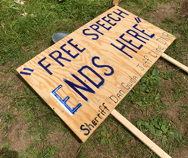 """A """"free speech zone"""" was set up on the river, in mock defiance of authorities attempting to censor activists and historians."""