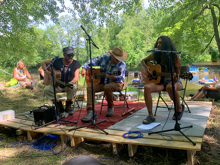 David Huckfelt, Keith Secola, and Annie Humphrey performed at the Protect the Water concert in Aitkin County Monday.
