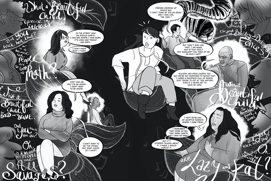 """A spread from the graphic novel """"In My Heart: The Adoption Story Project."""""""