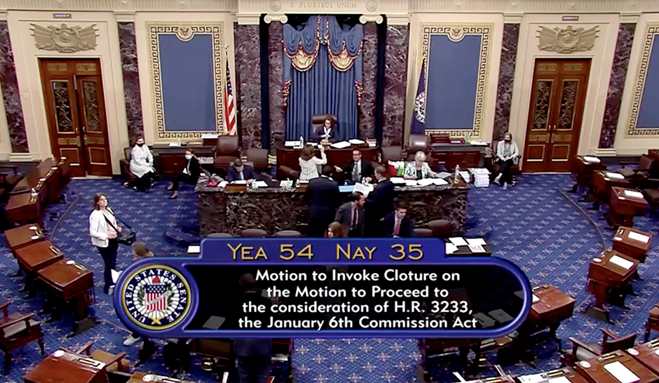 Legislation to create a bipartisan commission to investigate the January 6, 2021, assault on the Capitol by supporters of former President Donald Trump fails by a vote of 54-35 margin as Republicans in the Senate use their filibuster to block passage of the bill.
