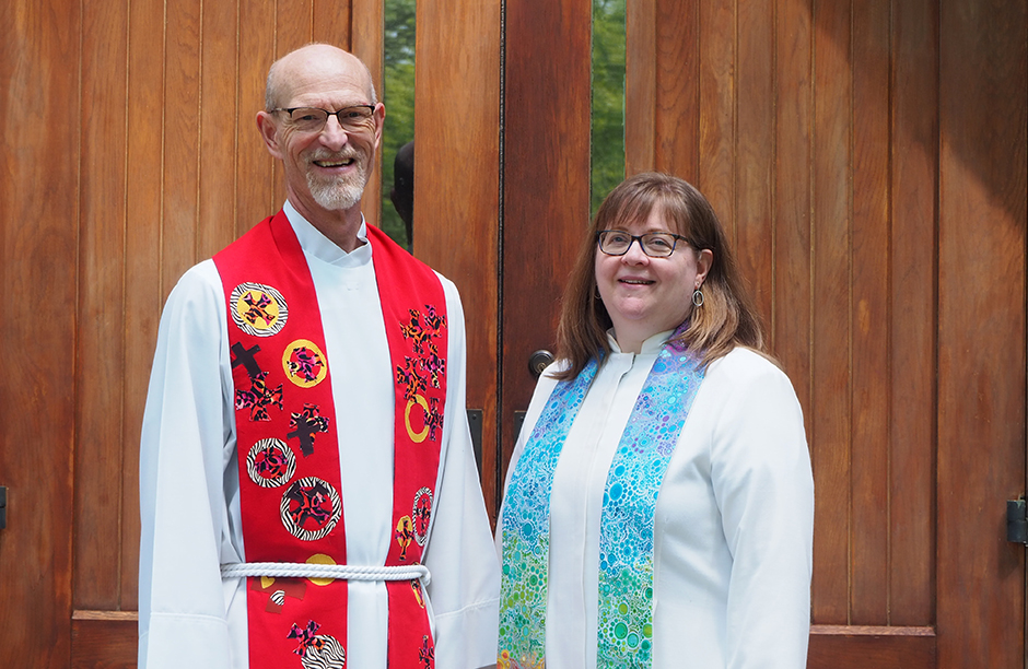 Pastor Rick King, of Falcon Heights Church, and Pastor Victoria Wilgocki, of St. Anthony Park United Church of Christ.