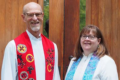 Pastor Rick King, of Falcon Heights Church, and Pastor Victoria Wilgocki