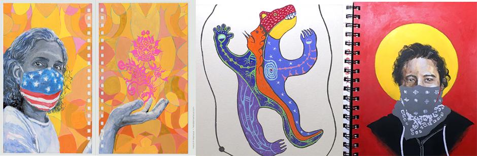 MPLSART Sketchbook Project art by, left to right: Hend Al-Mansour, Gordon Coons, Blaine Garrett.