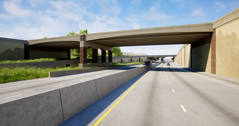 A rendering of Northbound I-35 with Highway 53 above.